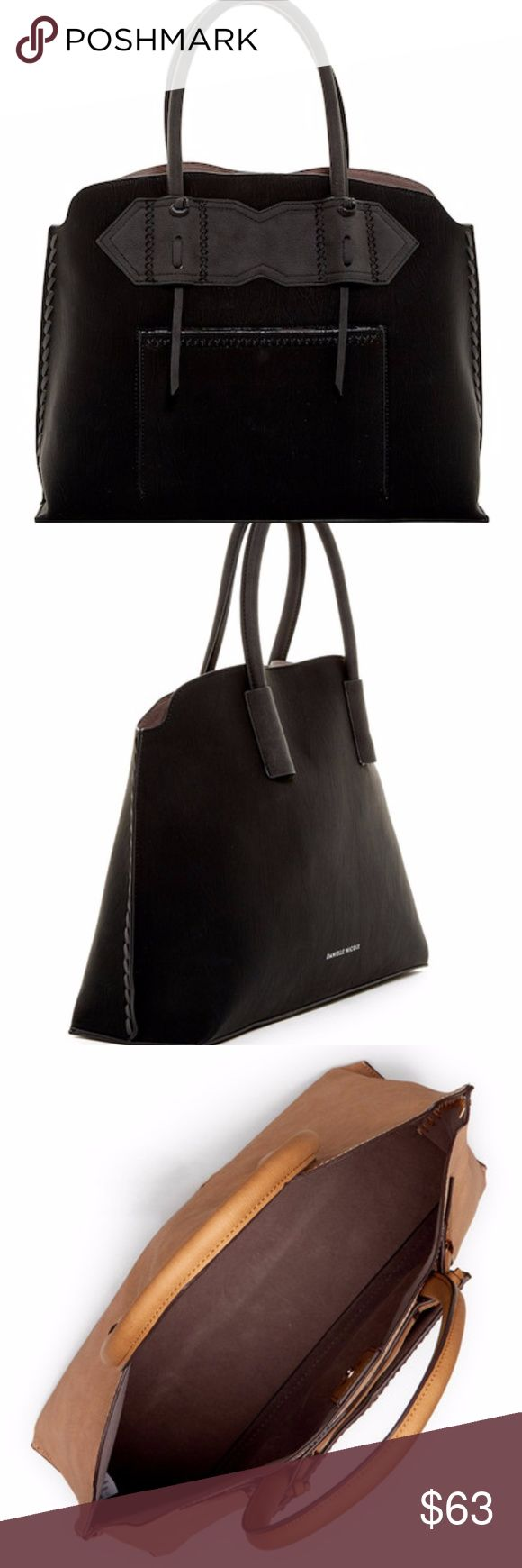 """NWT Danielle Nicole Collins Satchel in Black NWT Danielle Nicole Collins Satchel in Black - Dual rolled top handles - Magnetic top closure - Exterior features whipstitched detail and front gusseted pocket - Approx. 12"""" H x 17"""" W x 5"""" D - Approx. 6"""" handle drop Danielle Nicole Bags Satchels"""