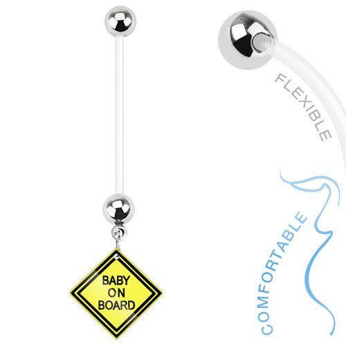 Baby on Board Sign Dangle Bio Flex Pregnancy Navel Ring - 14 GA (720) #Unbranded