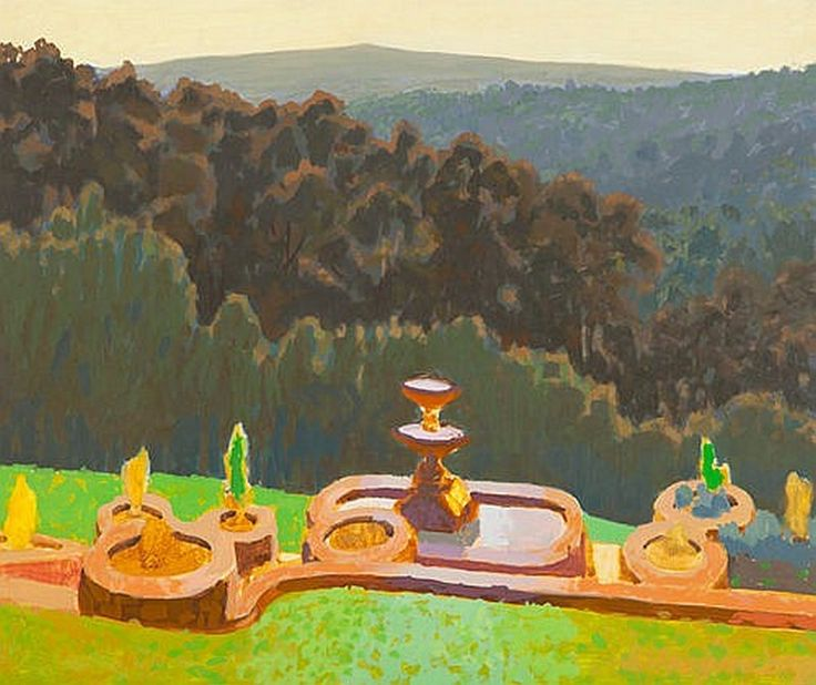 """""""The Fountain"""", 1996, by George Haynes (1938- ), Oil on Board, 50 x 60cm."""
