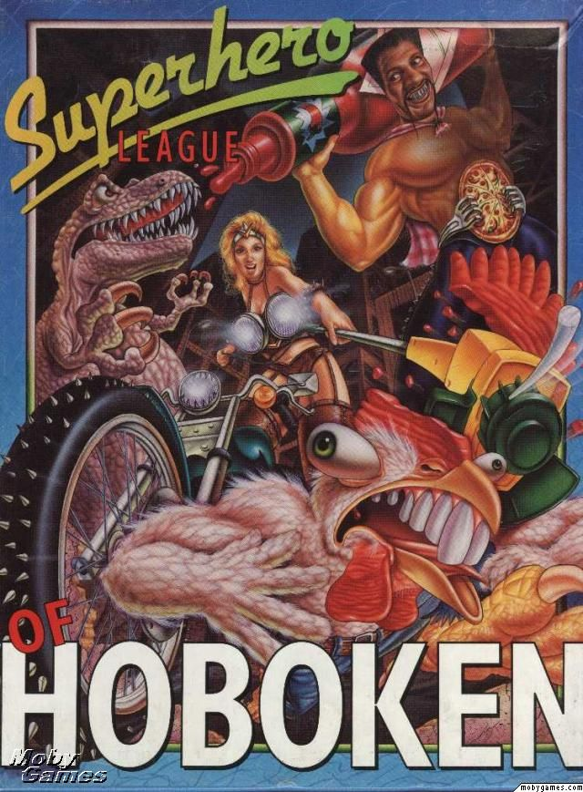 "Cover art for ""The Superhero League of Hoboken,"" a comical computer role-playing game designed by Steve Meretzky and published by Legend Entertainment for DOS computers in 1994"