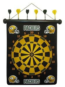 Add a little green and gold to your game room with this Packer dart board that is 60% off. NFL Green Bay Packers Darts Dart Board $14.94 (re...