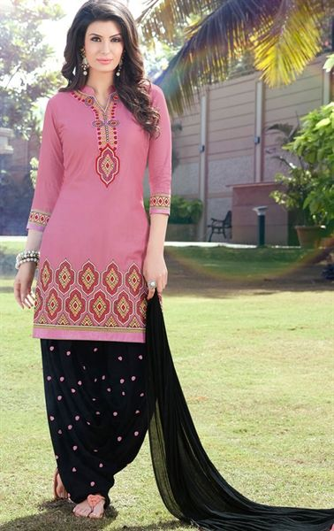 Attractive Black and Pink Patiala Salwar Suit