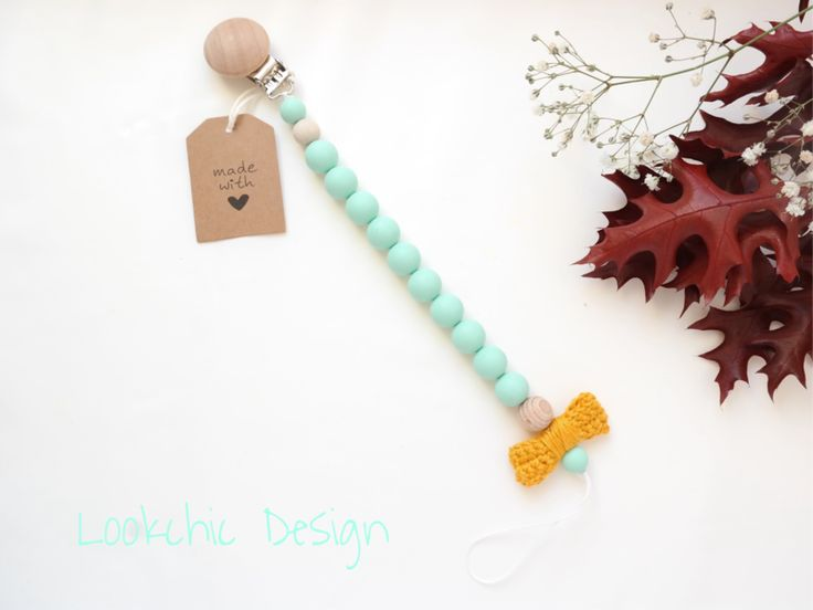 Dummy Chains – Aqua dummy chain, pacifier clip, pacifier holder – a unique product by LookchicDesign on DaWanda