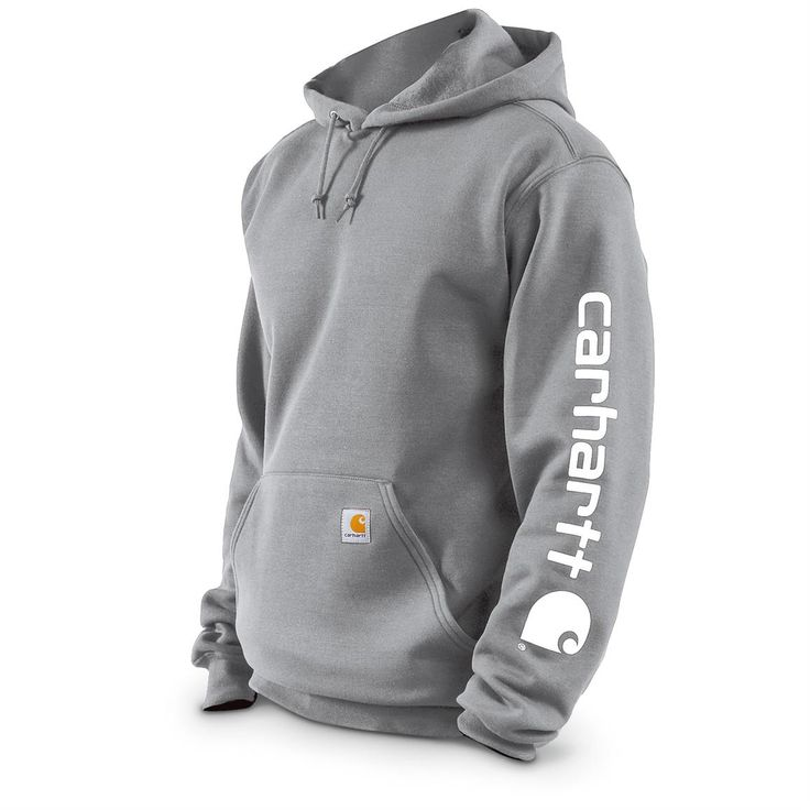 Carhartt Men's Midweight Hooded Sleeve Logo Sweatshirt, Slight Irregulars, Heather Gray