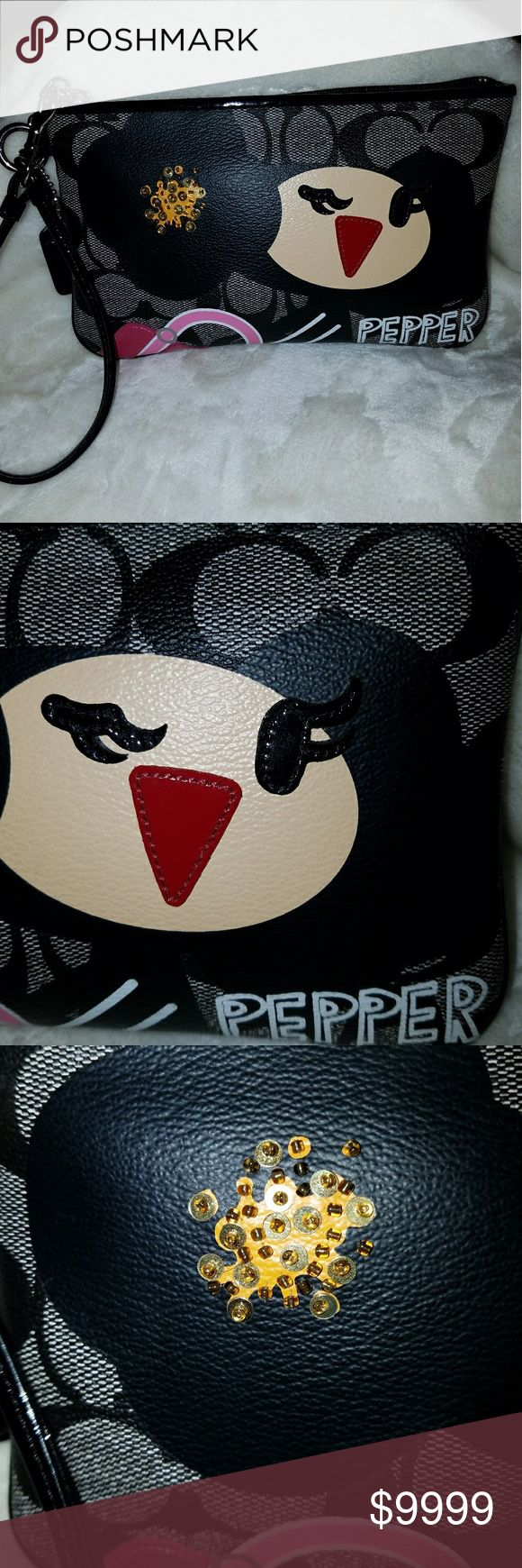 ❤RARE❤Coach🌺Poppy🌺Pepper🌺Chan. LG. Wristlet Coach🌺Poppy🌺Pepper Chan. Lg. Wristlet. SHE is so adorable! 🐱Dark Grey backdrop, with Coach signature C's, in a coated vinyl. 🖤Black hair, ❤Red nose/lips, 🖤Black lashes, all in Patent Leather. Add a spray of 🥇Gold☄Sequin Bling (all on & tight) in her hair. Trimmed in 💖Dark💗Light Pink Purse, add Pepper name in graffiti. Flip over to the back, Coach🌺Poppy🌺branding. Inside, 1 slip pocket, & 🖤patent leather trim, 🖤hand tag,🥈Silver hard…