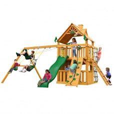 Chateau II Clubhouse Cedar Swing Set w/ Amber Posts