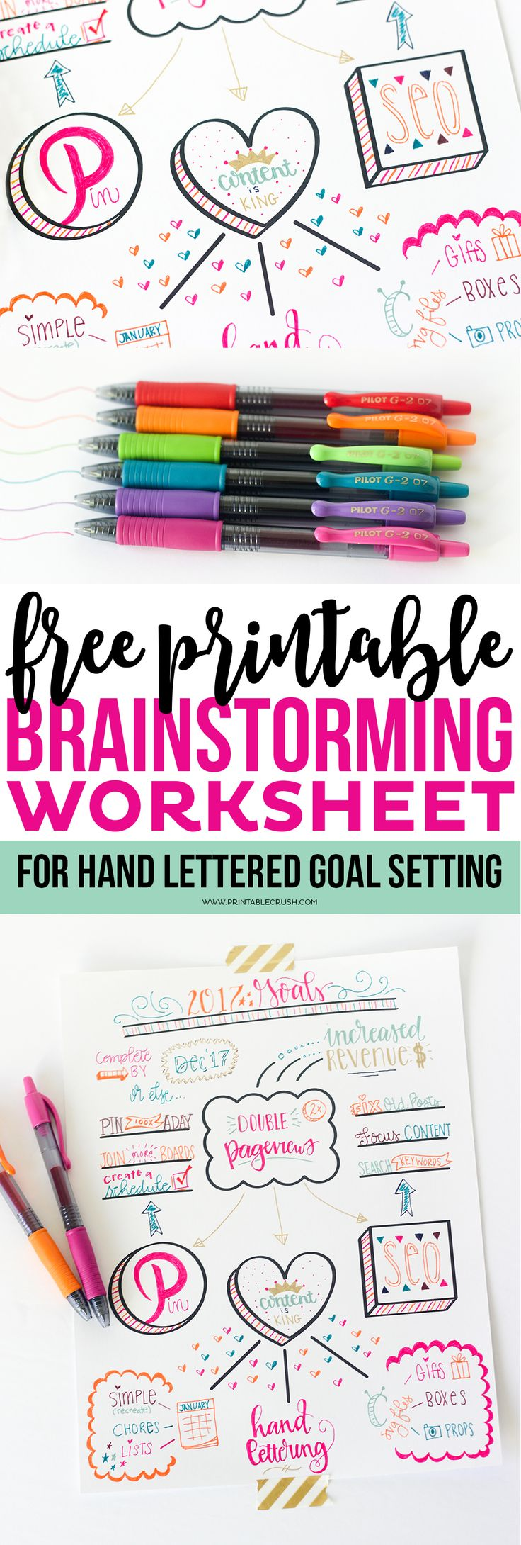 Make goal setting fun with this FREE Printable Hand Lettered Goal Setting Worksheet! Create art that's functional and beautiful with the Pilot Pen collection. DoYouG2 AD