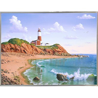 """Breakwater Bay 'Montauk Point, NY' Graphic Art Print Format: Silver Metal Framed Paper, Size: 23.25"""" H x 31.25"""" W x 2"""" D"""