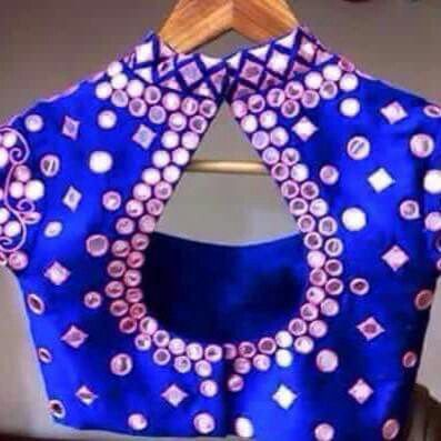 High Coller drop neck using with mirror blouse