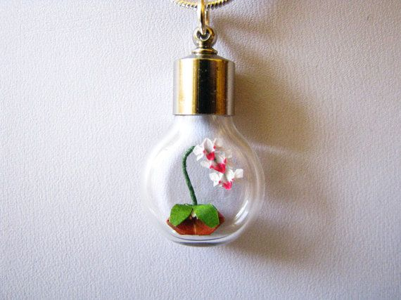 Miniature origami orchid necklace  Origami Jewelry by PaperPeaches, $55.00