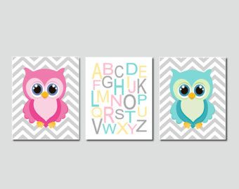 Baby Girl Nursery Art Owl Nursery Decor Owl Wall Art Pink Gray Nursery Chevron Alphabet Letters Set of 3 Prints Or Canvas