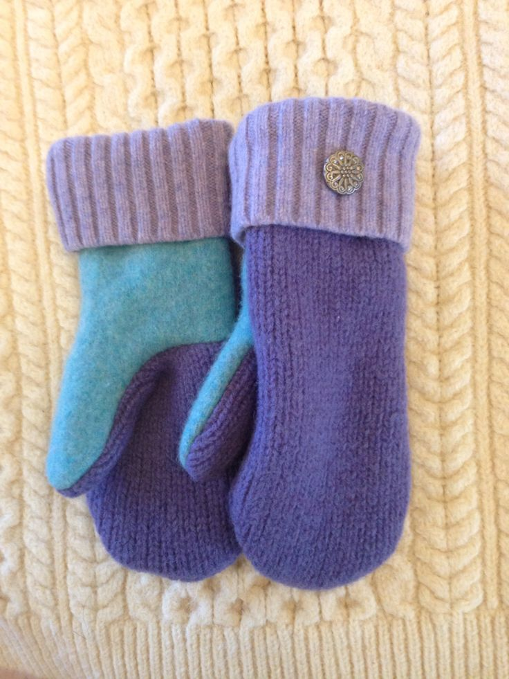 Recycled upcycled wool sweater mittens lined with blizzard fleece
