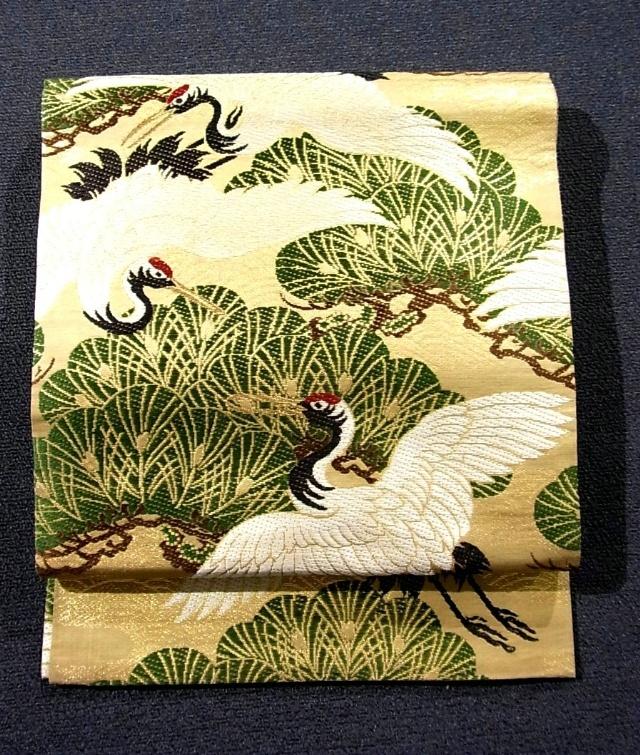 Vintage silk embroidered maru obi with auspicious 'matsu' (pine tree) and crane patterns