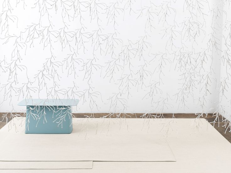 PROPS WITH CHILEWICH | WOVEN FLOORMATS IN SANDSTONE MINI BASKETWEAVE | RONAN & ERWAN BOUROULLEC ALGUE ROOM DIVIDER AND TABLE: VITRA