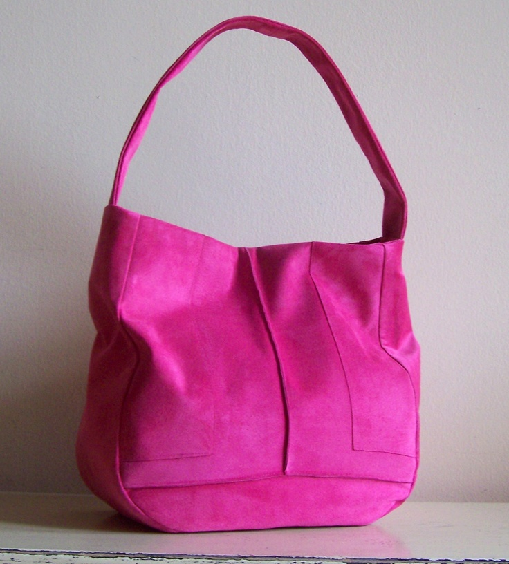 Leather Purse RECYCLED Pink Suede