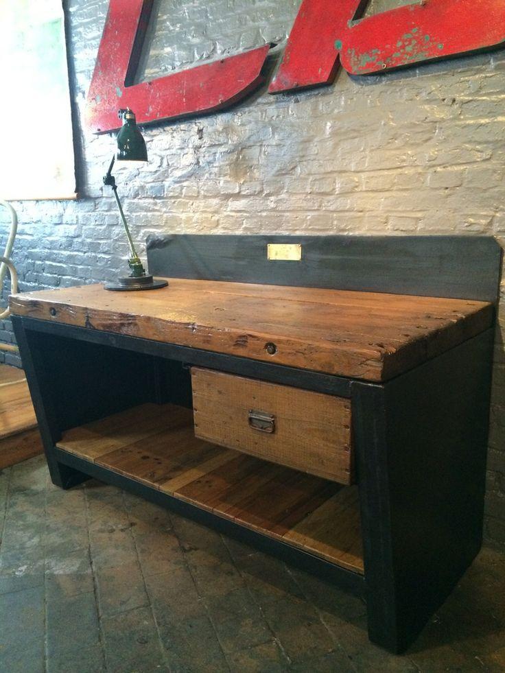 ancien tabli d 39 usine d 39 atelier 1 tiroir en m tal patine graphite et bois de ch ne naturel et. Black Bedroom Furniture Sets. Home Design Ideas