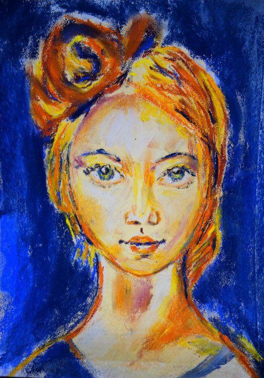 Pastellkreide auf Papier, Pastel chalk, Portrait Mädchen oder junge Frau mit grünen Augen und roten Haaren, moderne, zeitgenössiche, Kunst, Expressionistisch, im Stil Emil Nolde, Dorothea Mahlendorf