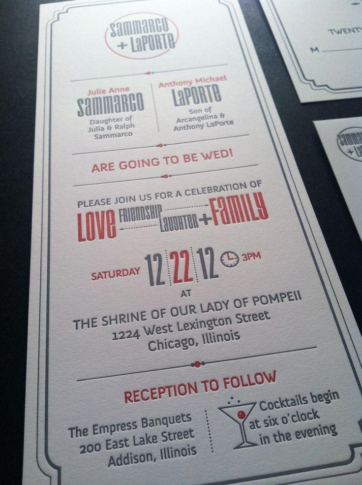 Sammarco and LaPorte Wedding Invitation PRODUCTION METHOD DESIGN Matthew LaFleur PRINTING AccuColor Plus inc./Letterpress Chicago