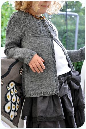 Saco gris tejido a 2 agujas