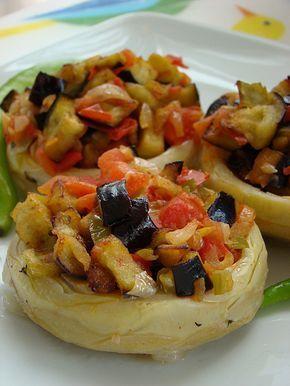 Enginar çanağında zeytinyağlı patlıcan - rumma - rumma