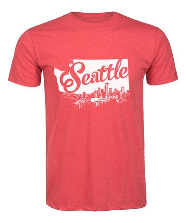 Another great find on #zulily! Heather Red Seattle Skyline State Outline Tee - Men's Regular by LC trendz Men's #zulilyfinds