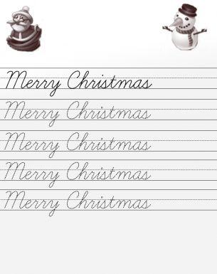 Merry Christmas Cursive Worksheets