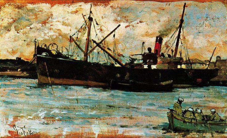"""""""Barche in un porto"""" di Giovanni Fattori (1825-1908, Italy)"""