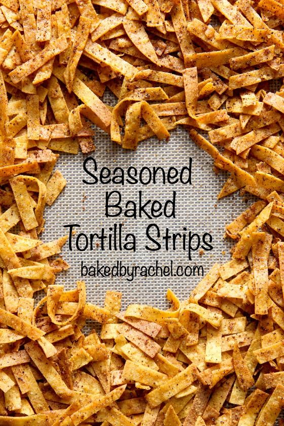 Crunchy homemade seasoned and baked tortilla strips - easy to make. These would be great on salads!!!