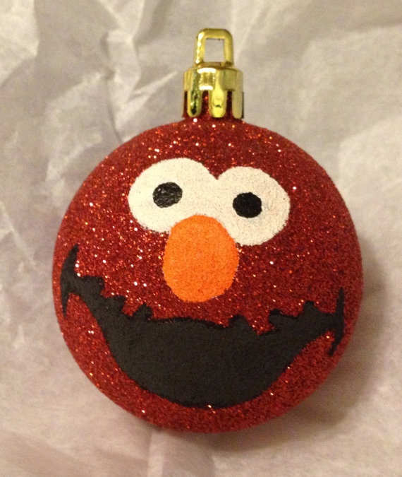 Elmo Hand Painted Christmas Ornament by TheGildedMoose on Etsy, $5.00 http://www.crystalglass.ca/ https://www.facebook.com/crystalglassltd https://twitter.com/CrystalGlassLTD https://www.youtube.com/user/crystalglassltd
