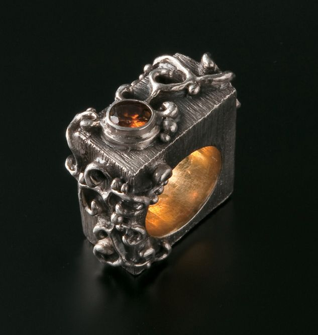 Sculpted Vine Ring. Fine silver (Art Clay Silver) with sphene. Gold plated shank.  Artist: Alan Samons
