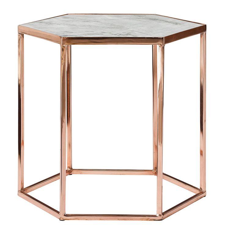Bloomingville+Tisch+45cm,+Kupfer/Marmor,+Bloomingville