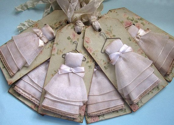 Shabby Chic Bridesmaid Chipboard Gift Tags Set by AnneMariePaperie, $24.00