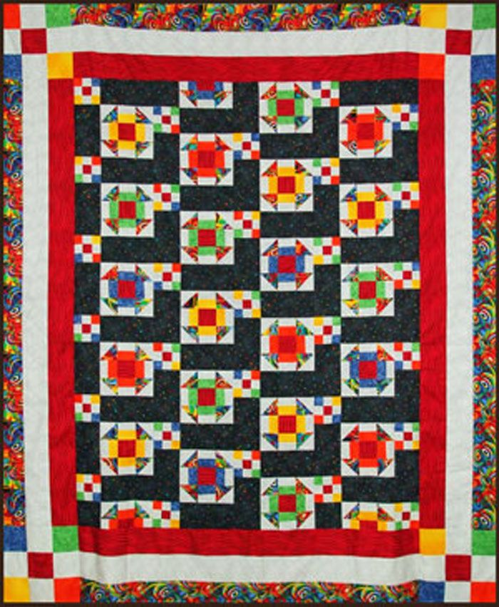 Twin Quilt Patterns Free : Gemstones Quilt Pattern TQS-21 (advanced beginner, lap and throw, twin)- Karen Gibbs- USD 8.00 ...