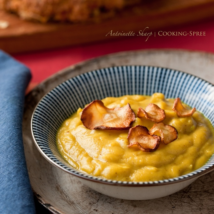 curried parsnip & apple soup with parsnip crisps-Of course use pacific northwest apples:)