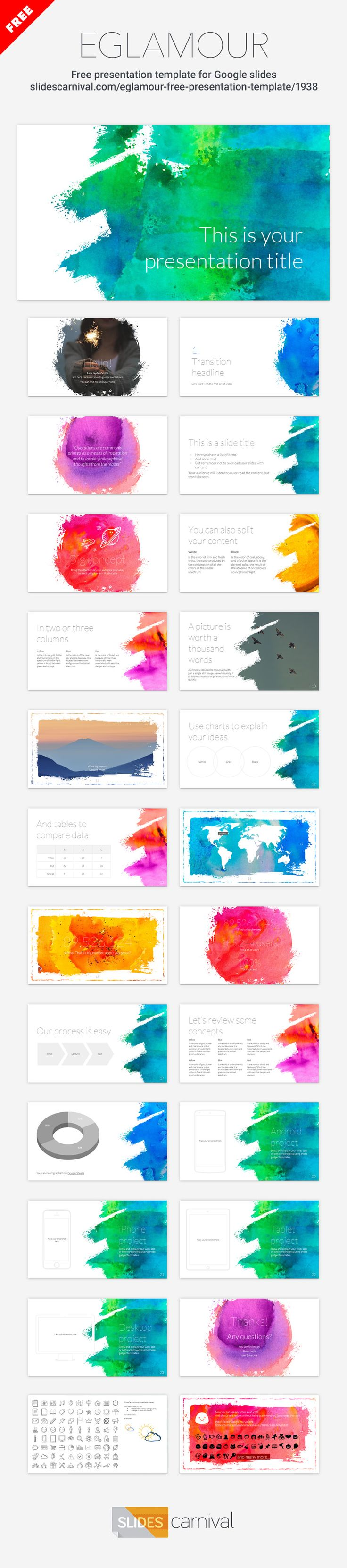 Get creative with your presentation using this artsy template. It uses watercolor textures to create bold and vivid slides, while the text content keeps a minimal and clean style. Talk about creativity, art, DIY or craft projects…