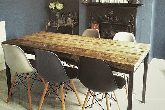 Reclaimed Industrial Chic 6-8 Seater Solid Wood and Metal Dining Table 058 Bar and Cafe Bar Restaurant Furniture Steel Made to Measure