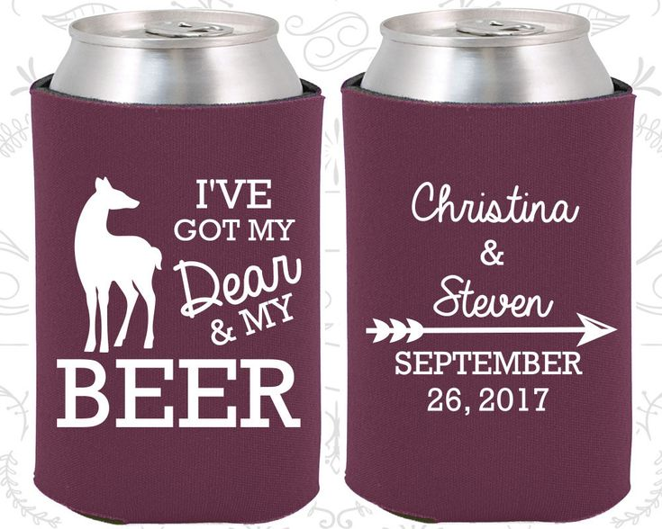 I've got my dear and my beer, Wedding Ideas, Deer Wedding Favors, Arrow Wedding Favors, Hunting Wedding Favors, Can Coolers (296)