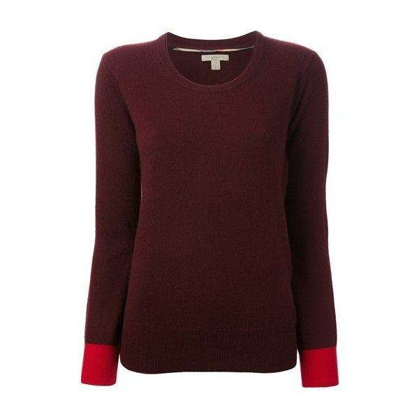 BURBERRY Elbow Patch Sweater (725 BRL) ❤ liked on Polyvore featuring tops, sweaters, shirts, bordeaux, long sleeve tops, burberry shirt, red sweater, elbow patch shirt and elbow patch sweaters