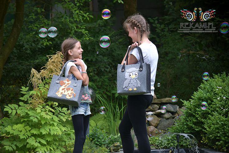 Dziecięce torby filcowe z konikiem i sową.
