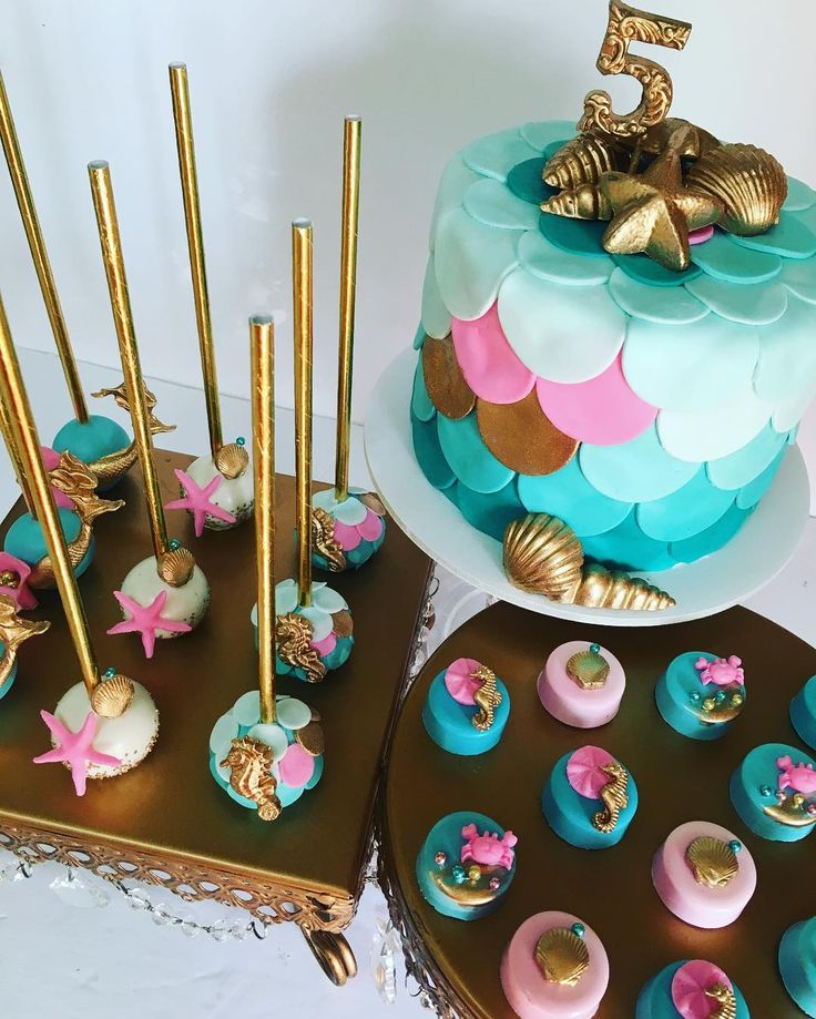 Mermaid cake birthday party and cake pop