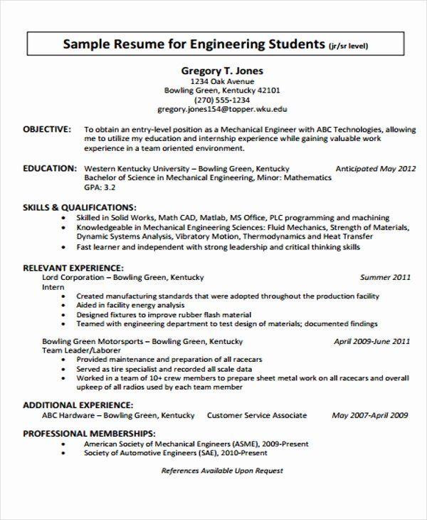 Civil Engineer Intern Resume Inspirational 20 Engineering Resume Templates In Pdf