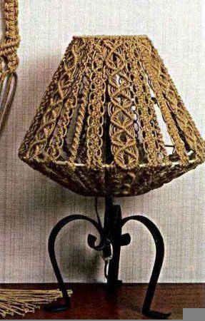 Шестигранный абажур макраме для настольной лампы