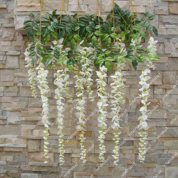2x artificial silk wisteria flower vine hanging garland wedding home decor white intelrobot. Black Bedroom Furniture Sets. Home Design Ideas