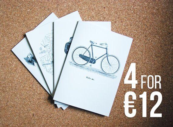 SET OF 4 vintage design A5 notebooks