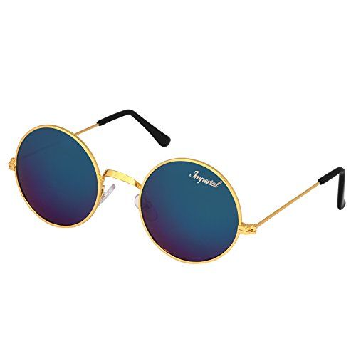 Imperial Club Mercury Blue Gold Frame Classic Round Sunglasses. Flaunt your exclusive taste in Accessories, Make a Style Statement & Impress your Friends with Imperial Club Brand of Sunglasses. Imperial Club brings to you must-have, stylish polarised sunglasses that offer 100% protection against harmful UV rays.