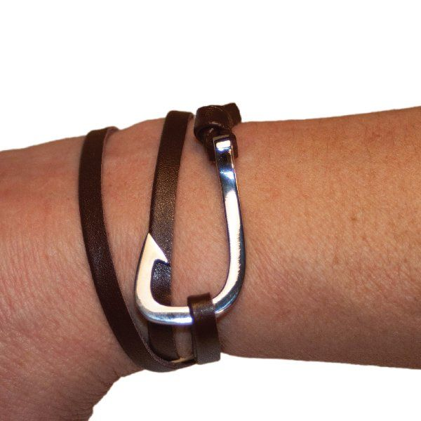 Fish hook Bracelet, Brown Leather, Silver Stainless Steel clasp