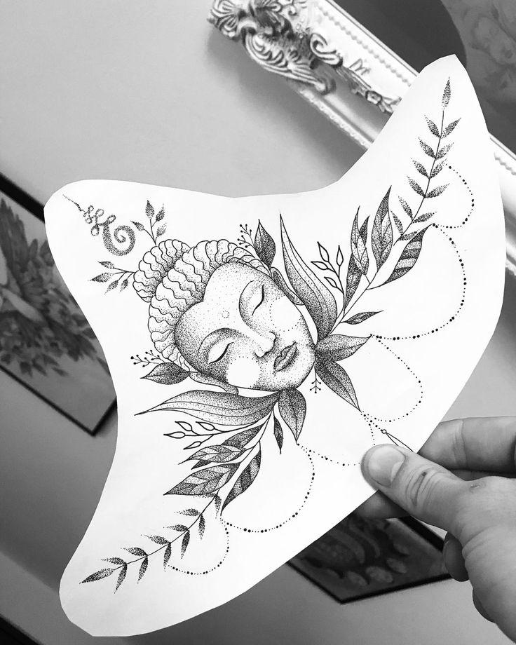 Belle idée de tatouage botanique conception dotwork art Bouddha symbole bouddhiste feuille …   – Tattoo ideen