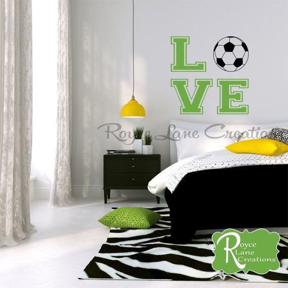 bedroom teen room decor soccer ball with word art for girls bedroom