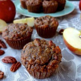 Perfectly moist gluten free apple banana nut muffins.