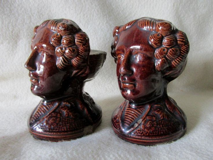 SOLD...Pair Antique, Mid 1800s Figural Ladies Stoneware Window Stops